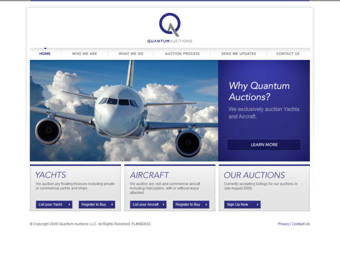 Quantum Auctions Website Screenshot