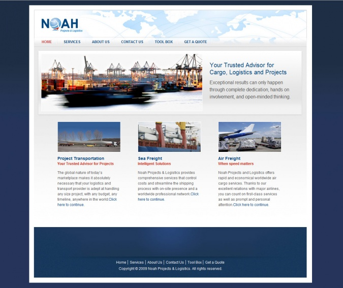 Noah Projects & Logistics' Website Screenshot