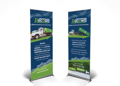Recowa roll-up banner for trade show
