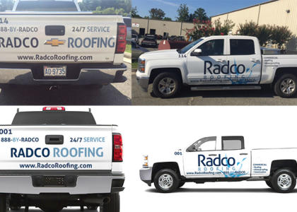 Radco roofing truck decals case study