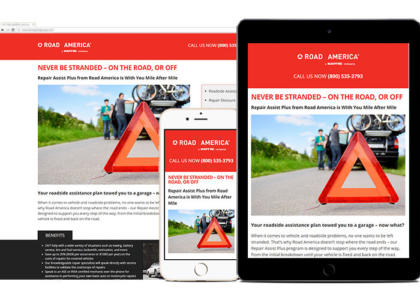 Road America landing page for multiple devices
