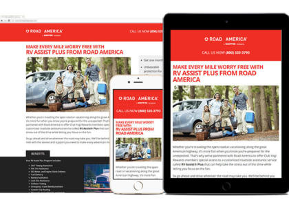 Road America landing page multiple devices