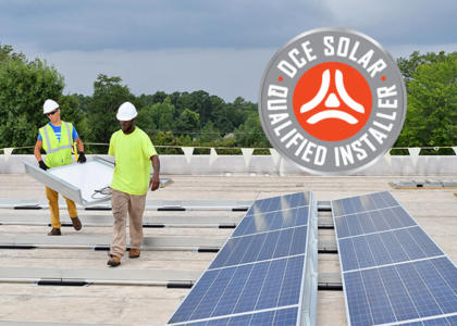 DCE Solar Qualified Installer ad with logo